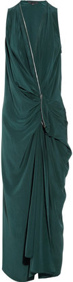 Alexander Wang Zip-trimmed washed-silk crepe de chine dress