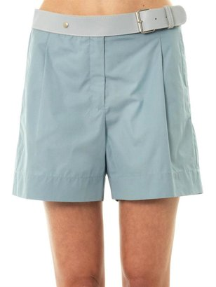 See by Chloe Leather-waistband cotton shorts