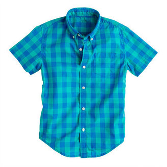 J.Crew Boys' Secret Wash short-sleeve shirt in pacific turquoise oversize gingham