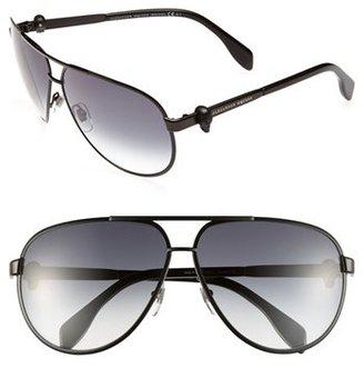 Alexander McQueen 65mm Skull Temple Metal Aviator Sunglasses