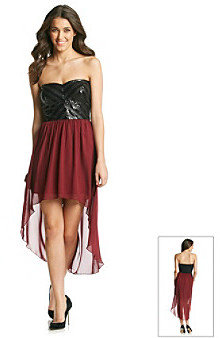Trixxi Juniors' Strapless Chevron Stripe High Low Dress