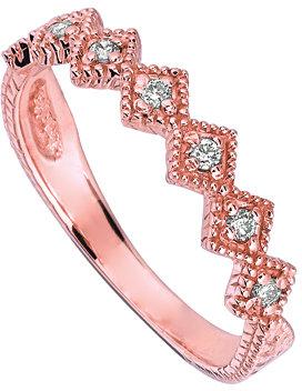 Morris & David Rose Gold and Seven Diamonds Stacking Ring