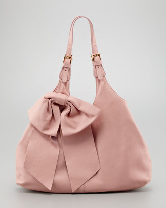 RED Valentino Large-Bow Hobo Bag, Cammeo