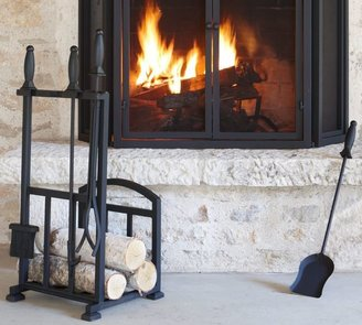 Pottery Barn PB Classic Fireplace Log Holder/Tool Set