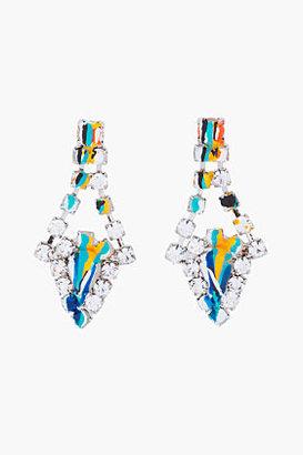Tom Binns Blue crystal painted earrings