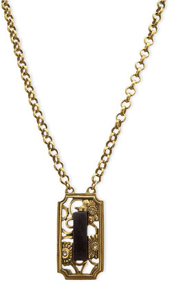 T Tahari Necklace, Gold-Tone Glass Crystal Black Stone Pendant