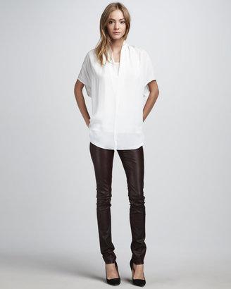 Vince Textured Leather Jeans, Merlot