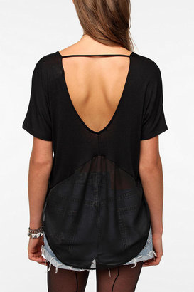 Urban Outfitters Pins and Needles Flutter Back Chiffon Mix Tee