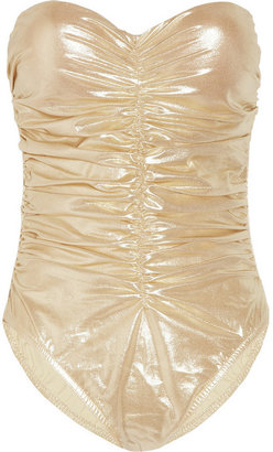 Karla Colletto Underwired ruched metallic swimsuit