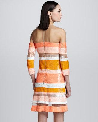 Kaufman Franco Sequin-Striped Sheer Dress