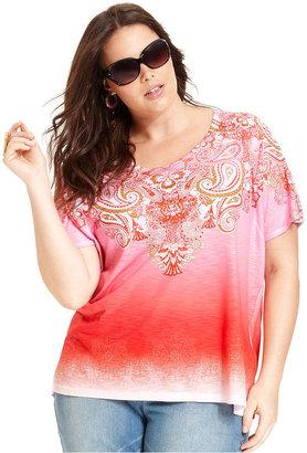 Style&Co. Sport Plus Size Top, Short-Sleeve Paisley-Print Dip-Dye