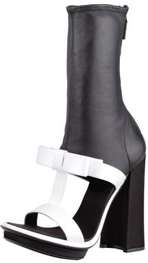 Prada Satin & Leather T-Strap Ankle Boot Sandal, Black/White
