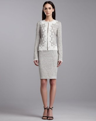 St. John Speckled Tweed Pencil Skirt, Porcelain
