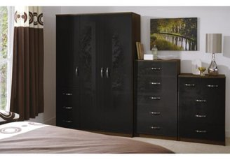 Panacea High Gloss 3-door, 3-drawer Wardrobe