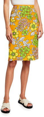 Tory Burch Wallpaper Floral-Print Twill Pencil Skirt