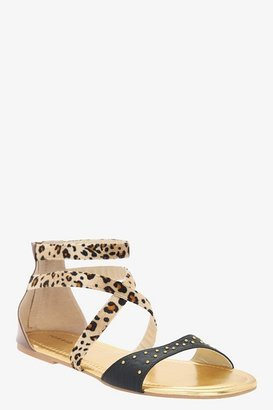Black Studs & Leopard Faux Fur Sandals (Wide Width)