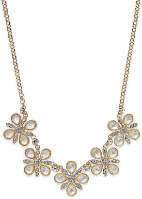 Charter Club Gold-Tone Crystal Flower Station Necklace