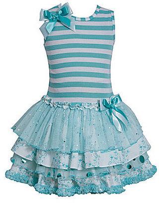 Bonnie Jean 2T-6X Striped Ruffle-Skirt Dress