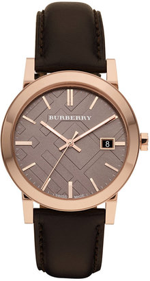 Burberry Watch, Men's Swiss Smooth Brown Leather Strap 38mm BU9013 $495 thestylecure.com