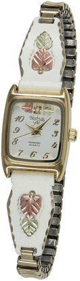 JCPenney Black Hills Gold Womens White Expansion Band Watch
