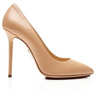 Charlotte Olympia Monroe Leather Pumps Nude