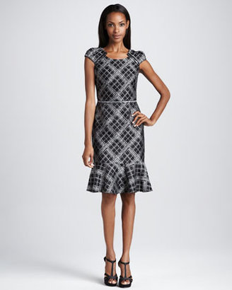 David Meister Plaid Cap-Sleeve Dress