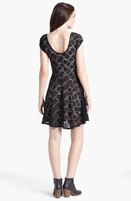 Socialite Lace Cap Sleeve Skater Dress (Juniors)