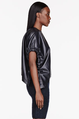 J.W.Anderson Black leather asymmetric Balloon Sleeve Blouse