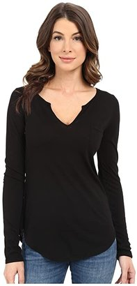 LAmade L/S Open Henley Tee (Black) Women's Long Sleeve Pullover