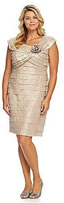 London Times Woman Rosette Shutter-Tier Dress