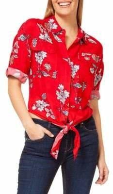 Dex Floral-Print Tie-Front Button-Down Shirt