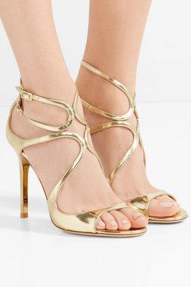 Jimmy Choo Lang Metallic Leather Sandals - Gold
