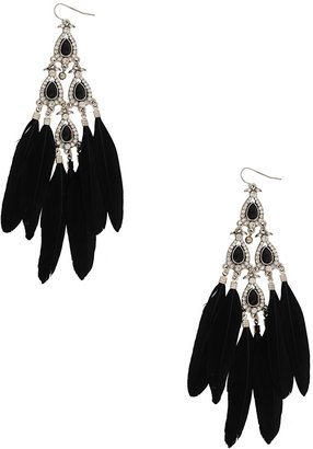 Forever 21 Feathered Teardrop Earrings