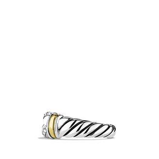 David Yurman Metro Curb Narrow Ring with Diamonds and Gold