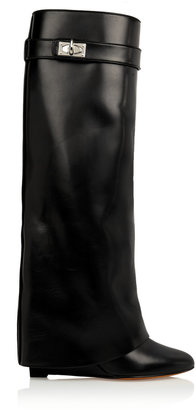 Givenchy Shark Lock Wedge Knee Boots in Black Leather