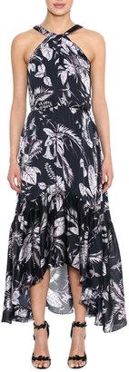 Marchesa Notte Floral Charmeuse High-Low Ruffle-Hem Halter Dress