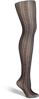 Fogal Black Crochet Pattern Skylight Stockings