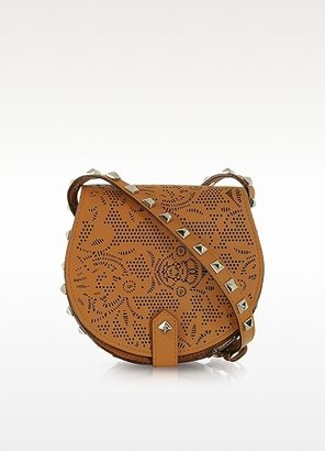 Rebecca Minkoff Skylar Mini Brown Perforated Leather Crossbody