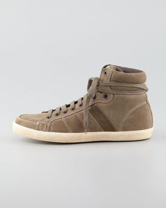 Moncler Lyon Suede High-Top Sneaker