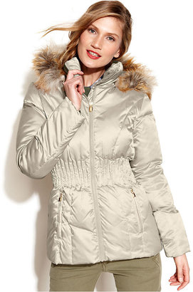 Laundry by Shelli Segal Hooded Faux-Fur-Trim Quilted Puffer Coat