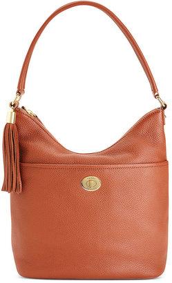 Tommy Hilfiger Handbag, Pebble Leather Turnlock Tassel Bucket Bag