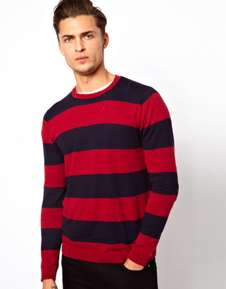 Asos Stripe Sweater with Elbow Patches