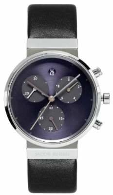 Jacob Jensen Chronograph Series Women's Quartz Watch with Blue Dial Chronograph Display and Leather Strap 615