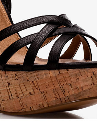 Forever 21 Faux Leather Cork Wedge Sandals