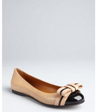 Fendi nude and black leather bow patent cap toe flats