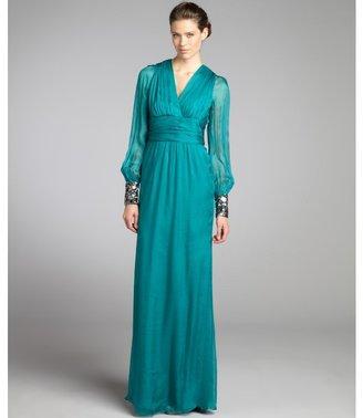 Badgley Mischka teal pleated and beaded silk chiffon sheer long sleeve dress