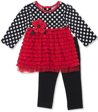 Rare Editions Baby Set, Baby Girls 2-Piece Dot Eyelash Top and Leggings