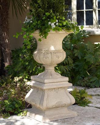 """Horchow """"French Leaf"""" Urn Planter & Pedestal"""