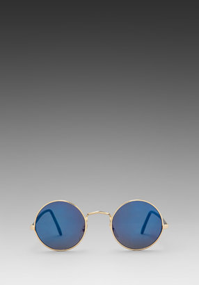 Peekabooda Lennon Circle Frames in Gold with Blue Lens