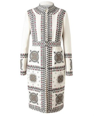 Valentino Folk Embroidered Wool-silk Coat
